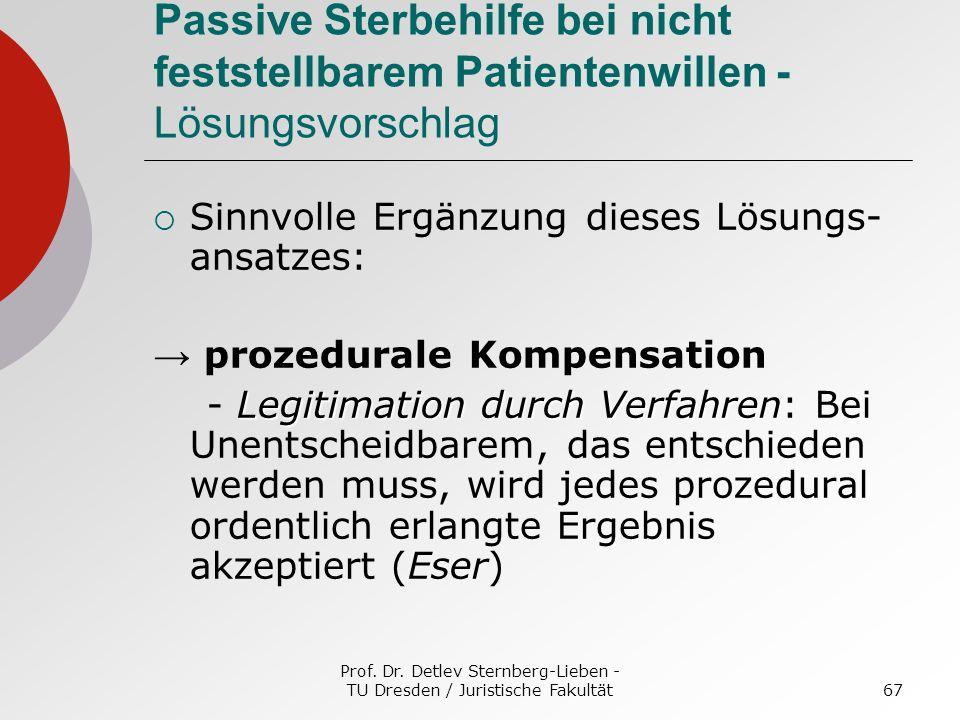 Prof. Dr. Detlev Sternberg-Lieben - TU Dresden / Juristische Fakultät67 Passive Sterbehilfe bei nicht feststellbarem Patientenwillen - Lösungsvorschla