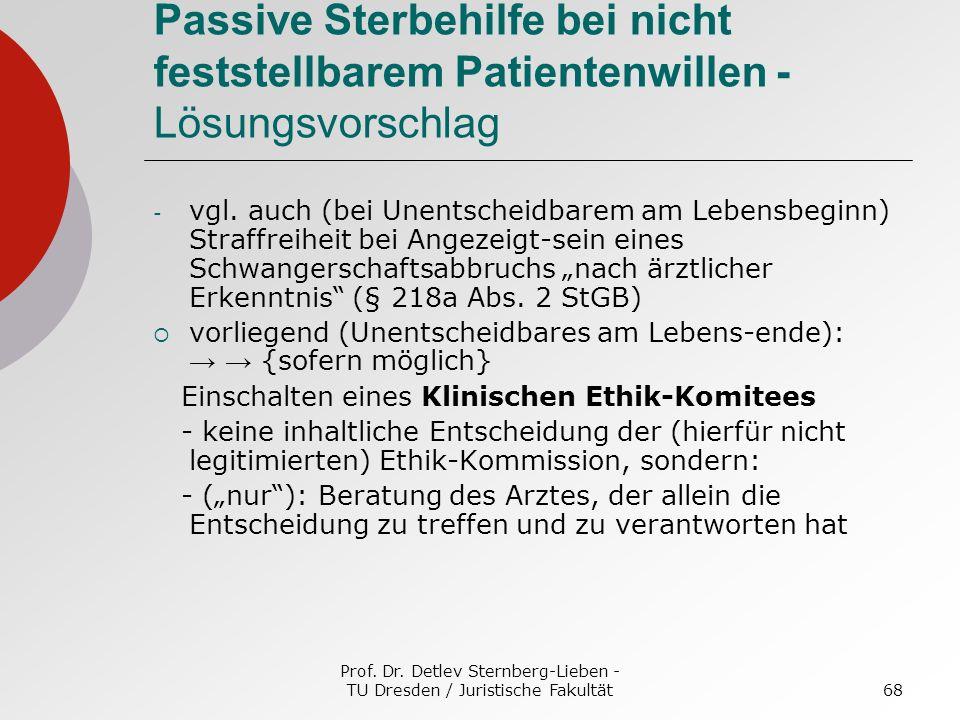 Prof. Dr. Detlev Sternberg-Lieben - TU Dresden / Juristische Fakultät68 Passive Sterbehilfe bei nicht feststellbarem Patientenwillen - Lösungsvorschla