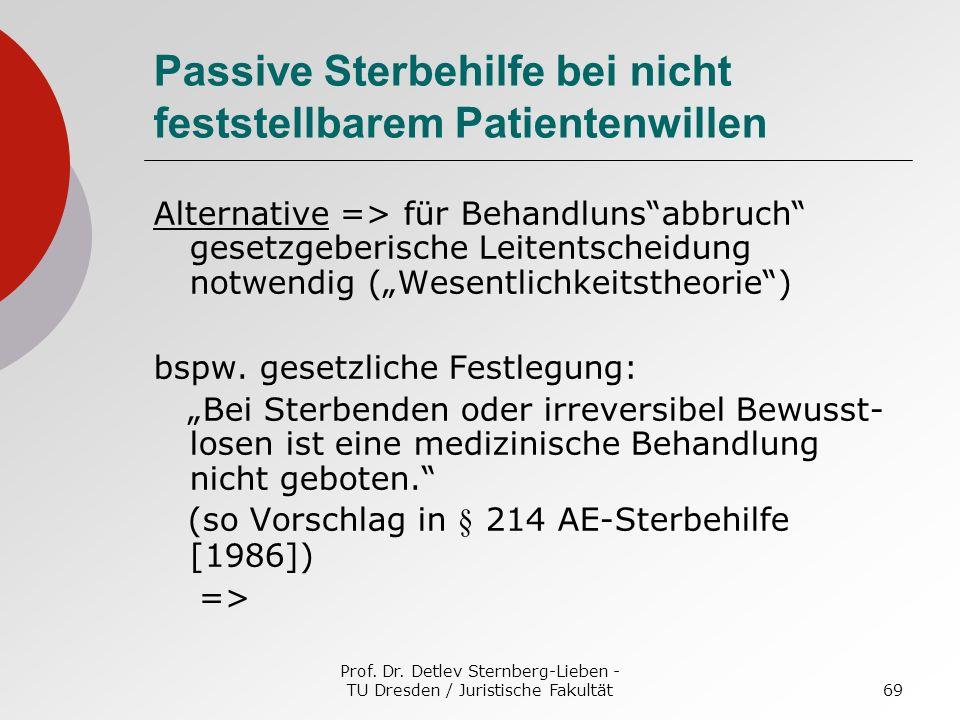Prof. Dr. Detlev Sternberg-Lieben - TU Dresden / Juristische Fakultät69 Passive Sterbehilfe bei nicht feststellbarem Patientenwillen Alternative => fü