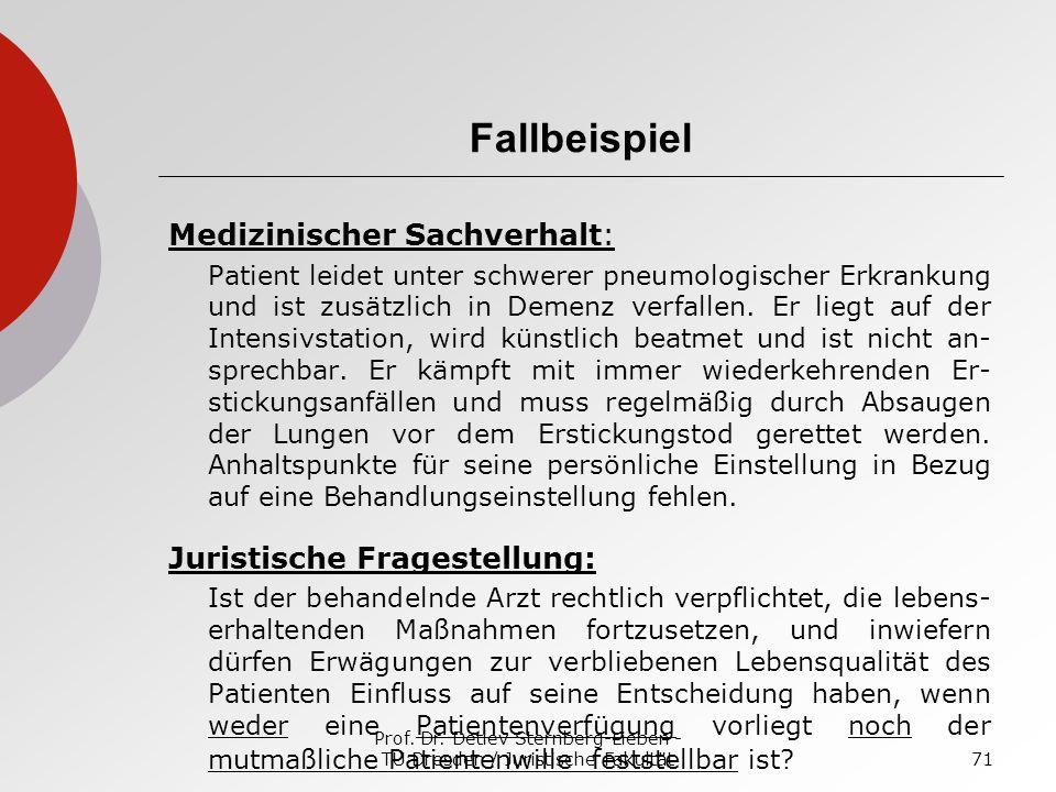 Prof. Dr. Detlev Sternberg-Lieben - TU Dresden / Juristische Fakultät71 Fallbeispiel Medizinischer Sachverhalt: Patient leidet unter schwerer pneumolo