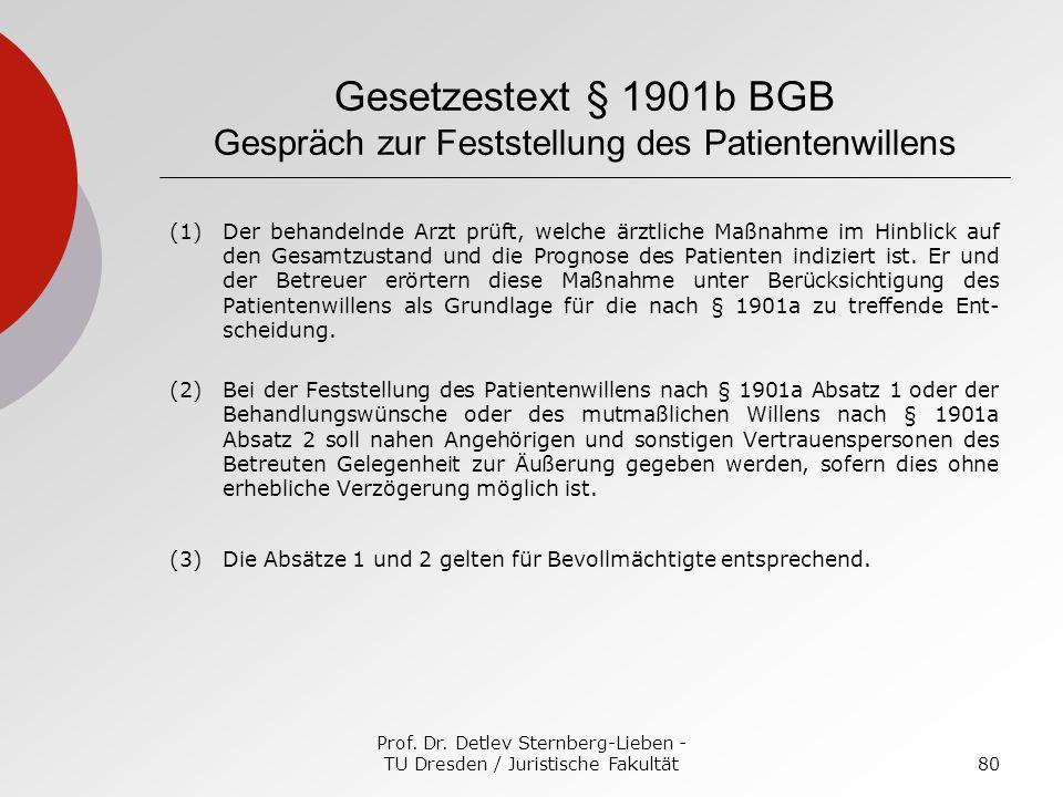 Prof. Dr. Detlev Sternberg-Lieben - TU Dresden / Juristische Fakultät80 Gesetzestext § 1901b BGB Gespräch zur Feststellung des Patientenwillens (1)Der
