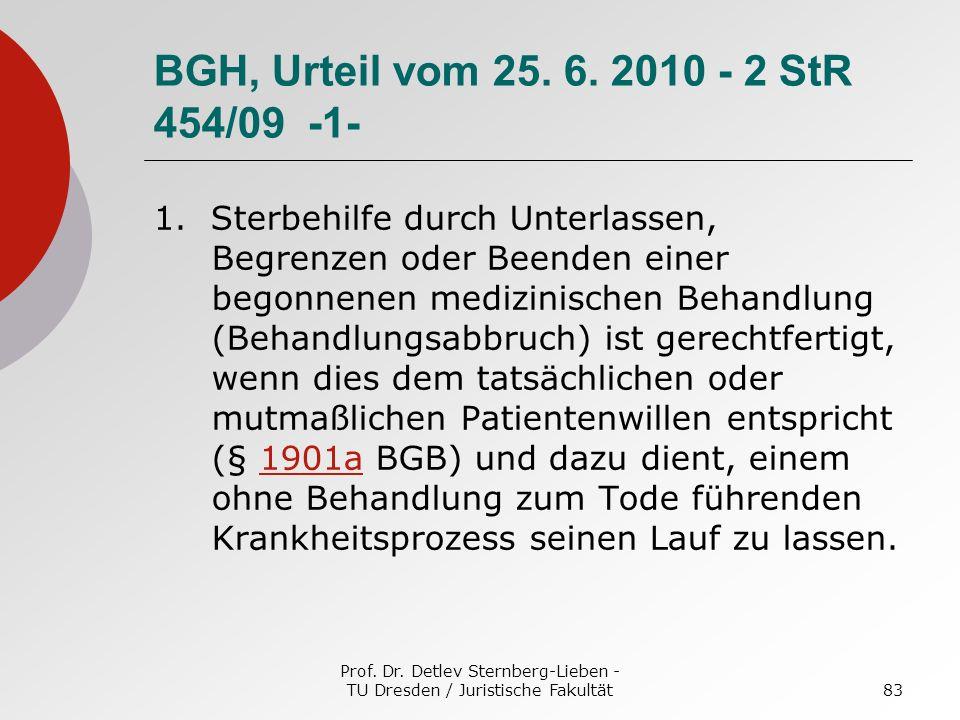 Prof. Dr. Detlev Sternberg-Lieben - TU Dresden / Juristische Fakultät83 BGH, Urteil vom 25. 6. 2010 - 2 StR 454/09 -1- 1. Sterbehilfe durch Unterlasse
