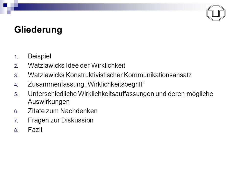 Gliederung 1. Beispiel 2. Watzlawicks Idee der Wirklichkeit 3. Watzlawicks Konstruktivistischer Kommunikationsansatz 4. Zusammenfassung Wirklichkeitsb