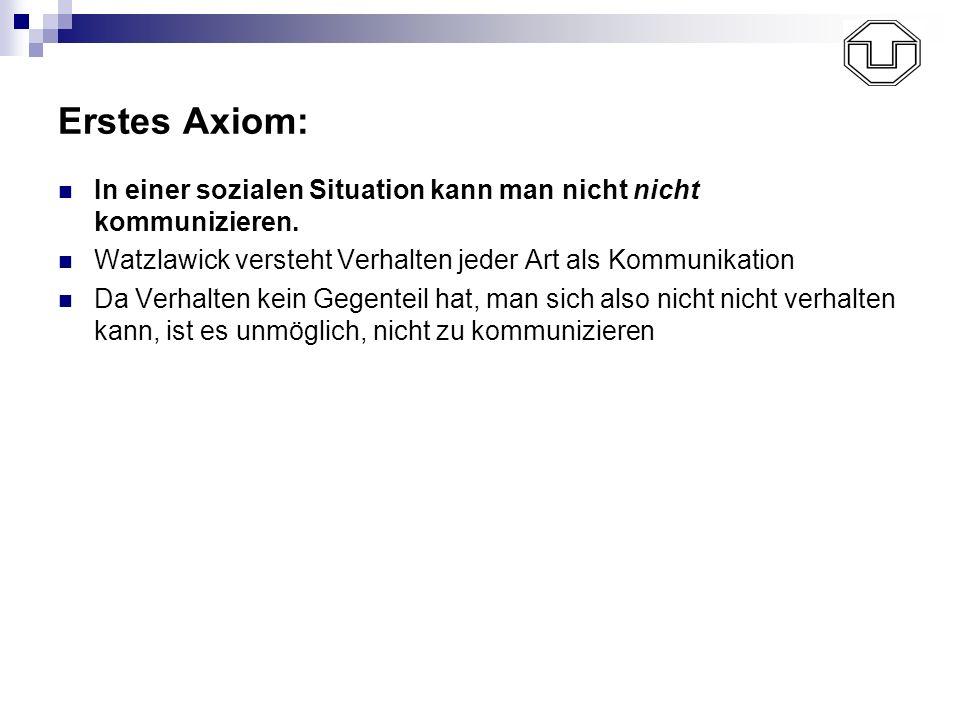 Erstes Axiom: In einer sozialen Situation kann man nicht nicht kommunizieren. Watzlawick versteht Verhalten jeder Art als Kommunikation Da Verhalten k