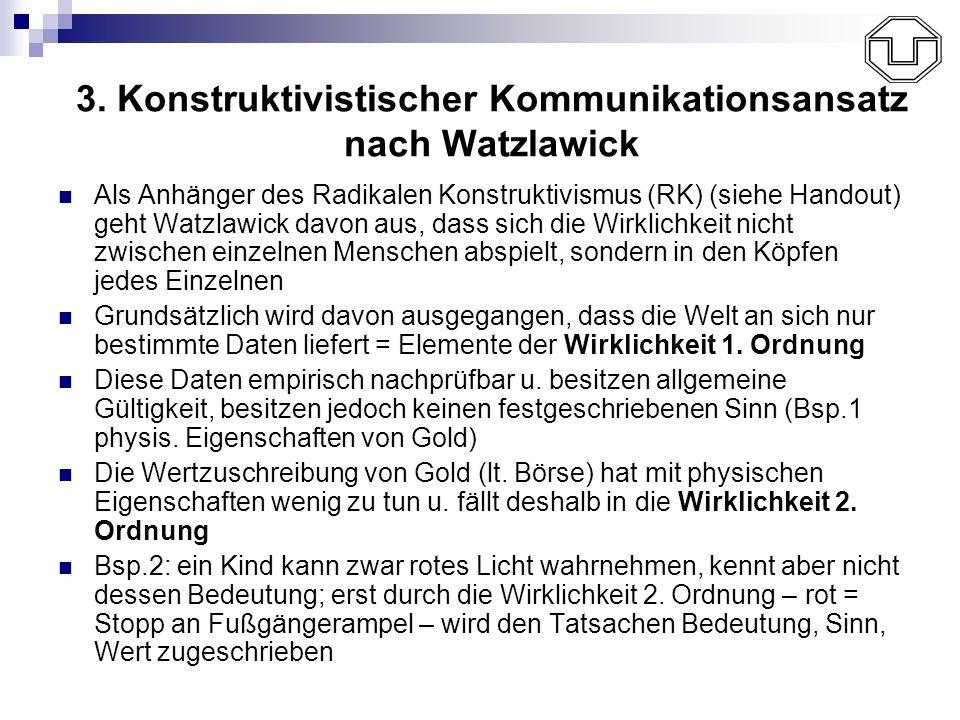 3. Konstruktivistischer Kommunikationsansatz nach Watzlawick Als Anhänger des Radikalen Konstruktivismus (RK) (siehe Handout) geht Watzlawick davon au