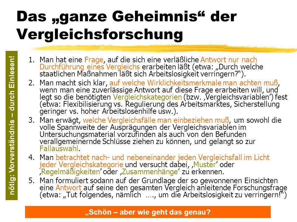 TU Dresden – Institut für Politikwissenschaft – Prof. Dr. Werner J. Patzelt Das ganze Geheimnis der Vergleichsforschung 1.Man hat eine Frage, auf die