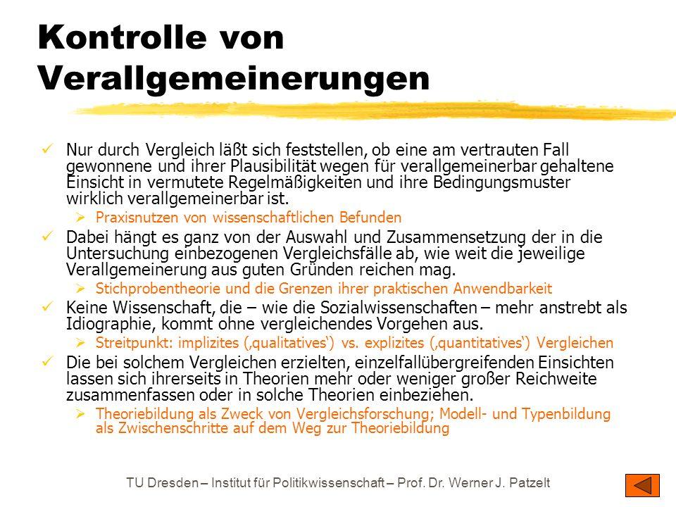 TU Dresden – Institut für Politikwissenschaft – Prof. Dr. Werner J. Patzelt Kontrolle von Verallgemeinerungen Nur durch Vergleich läßt sich feststelle