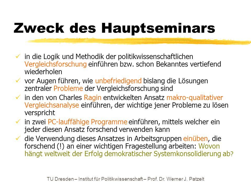 TU Dresden – Institut für Politikwissenschaft – Prof. Dr. Werner J. Patzelt Zweck des Hauptseminars in die Logik und Methodik der politikwissenschaftl