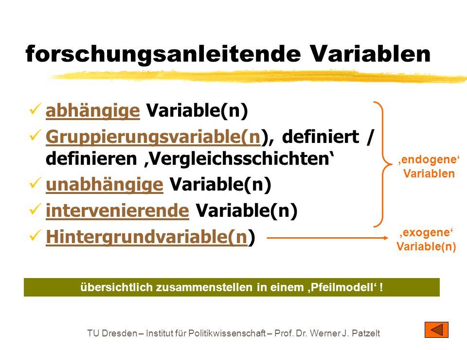 TU Dresden – Institut für Politikwissenschaft – Prof. Dr. Werner J. Patzelt forschungsanleitende Variablen abhängige Variable(n) abhängige Gruppierung