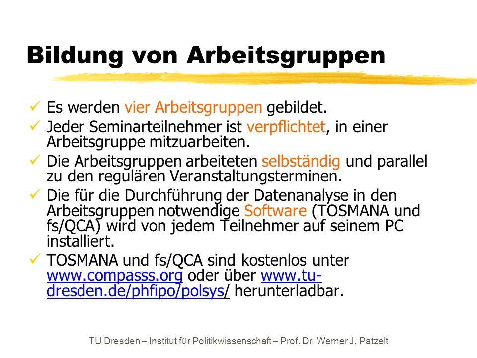 TU Dresden – Institut für Politikwissenschaft – Prof. Dr. Werner J. Patzelt Bildung von Arbeitsgruppen Es werden vier Arbeitsgruppen gebildet. Jeder S