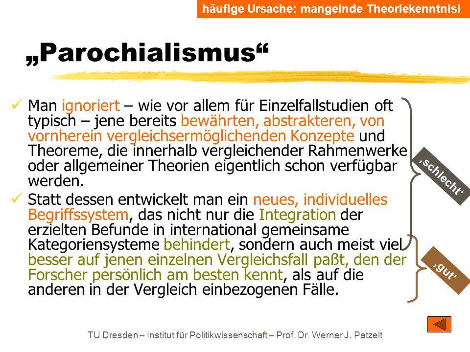 TU Dresden – Institut für Politikwissenschaft – Prof. Dr. Werner J. Patzelt Parochialismus Man ignoriert – wie vor allem für Einzelfallstudien oft typ