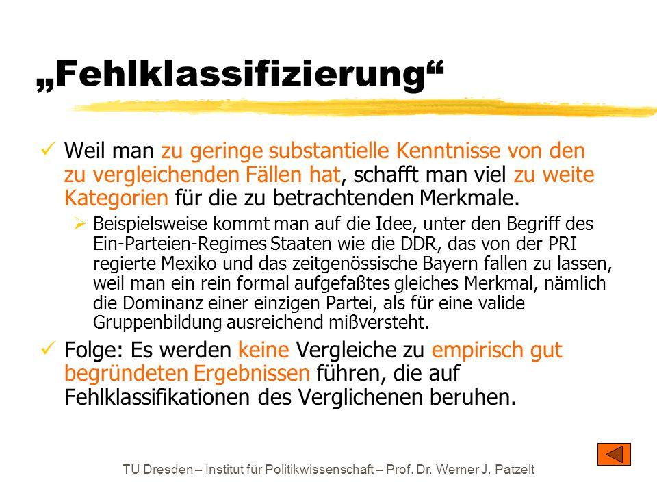 TU Dresden – Institut für Politikwissenschaft – Prof. Dr. Werner J. Patzelt Fehlklassifizierung Weil man zu geringe substantielle Kenntnisse von den z