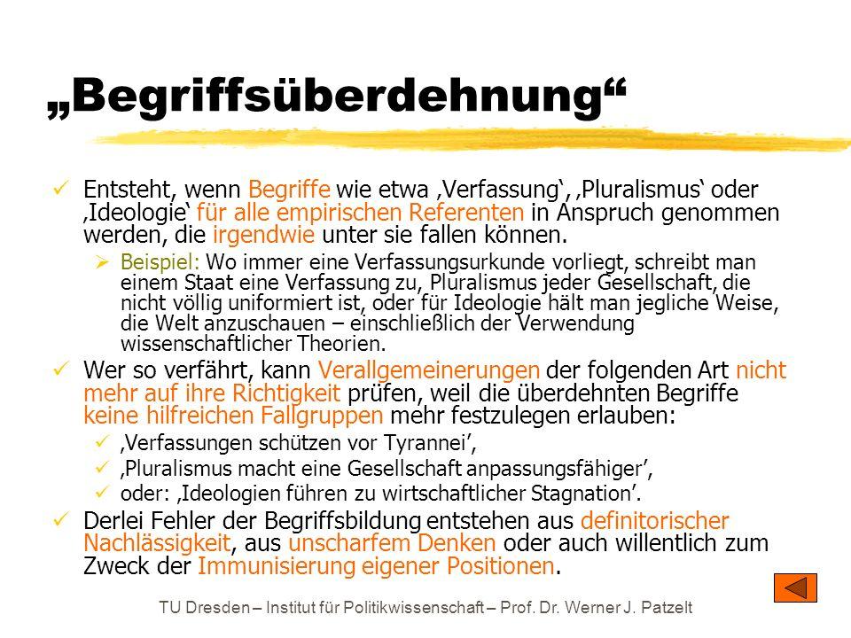TU Dresden – Institut für Politikwissenschaft – Prof. Dr. Werner J. Patzelt Begriffsüberdehnung Entsteht, wenn Begriffe wie etwa Verfassung, Pluralism