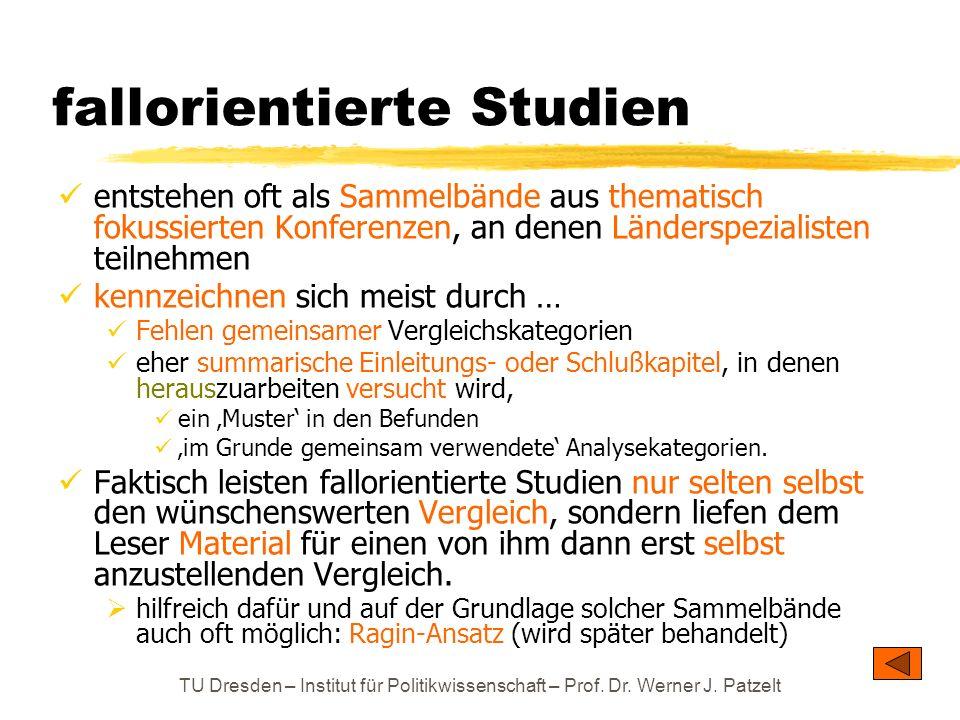 TU Dresden – Institut für Politikwissenschaft – Prof. Dr. Werner J. Patzelt fallorientierte Studien entstehen oft als Sammelbände aus thematisch fokus