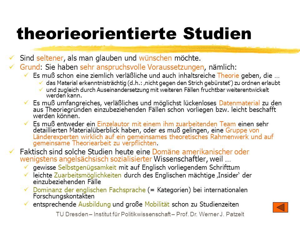 TU Dresden – Institut für Politikwissenschaft – Prof. Dr. Werner J. Patzelt theorieorientierte Studien Sind seltener, als man glauben und wünschen möc