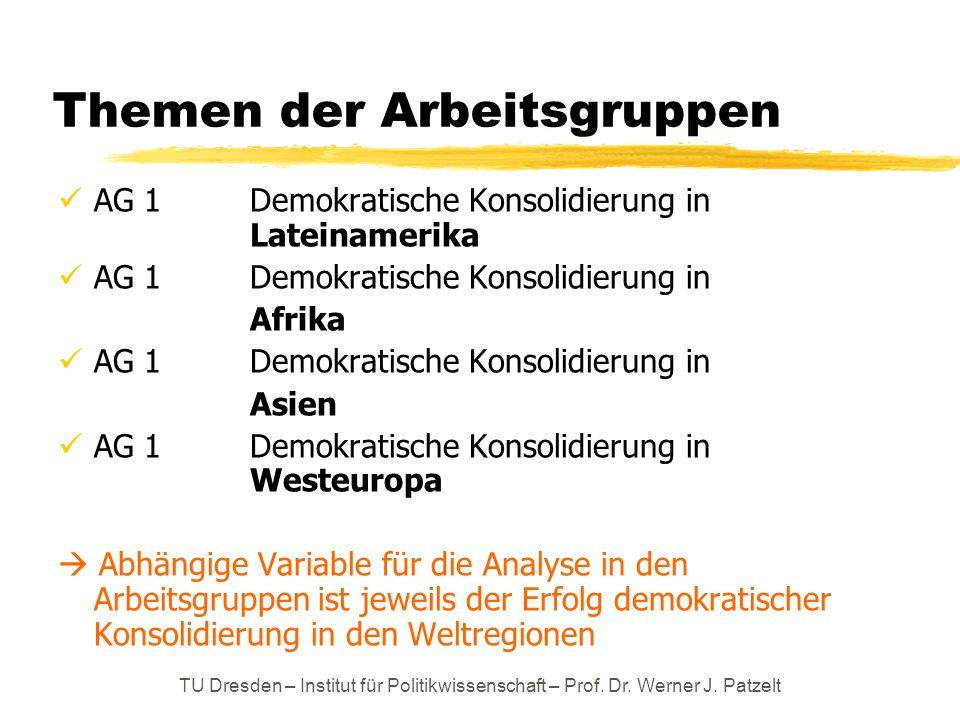 TU Dresden – Institut für Politikwissenschaft – Prof. Dr. Werner J. Patzelt Themen der Arbeitsgruppen AG 1Demokratische Konsolidierung in Lateinamerik