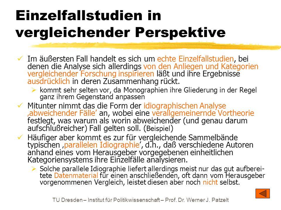 TU Dresden – Institut für Politikwissenschaft – Prof. Dr. Werner J. Patzelt Einzelfallstudien in vergleichender Perspektive Im äußersten Fall handelt