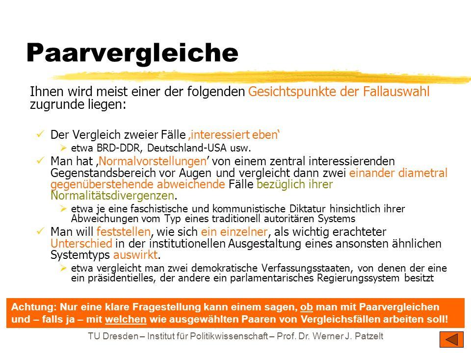 TU Dresden – Institut für Politikwissenschaft – Prof. Dr. Werner J. Patzelt Paarvergleiche Ihnen wird meist einer der folgenden Gesichtspunkte der Fal