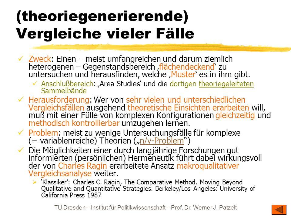 TU Dresden – Institut für Politikwissenschaft – Prof. Dr. Werner J. Patzelt (theoriegenerierende) Vergleiche vieler Fälle Zweck: Einen – meist umfangr