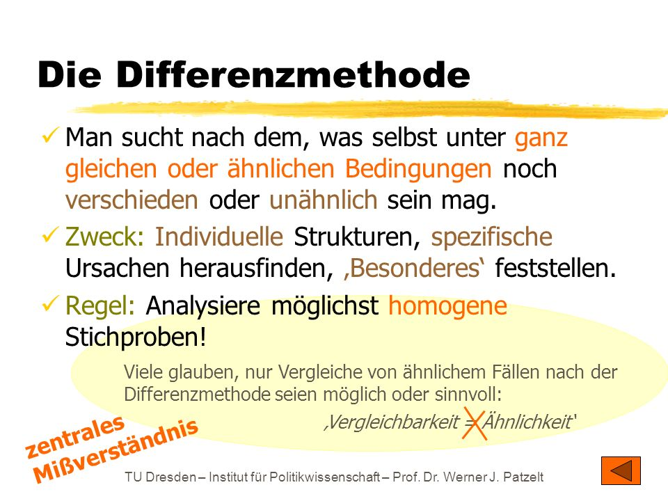 TU Dresden – Institut für Politikwissenschaft – Prof. Dr. Werner J. Patzelt Die Differenzmethode Man sucht nach dem, was selbst unter ganz gleichen od