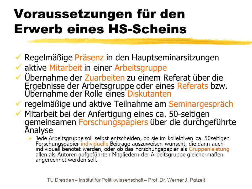 TU Dresden – Institut für Politikwissenschaft – Prof. Dr. Werner J. Patzelt Voraussetzungen für den Erwerb eines HS-Scheins Regelmäßige Präsenz in den