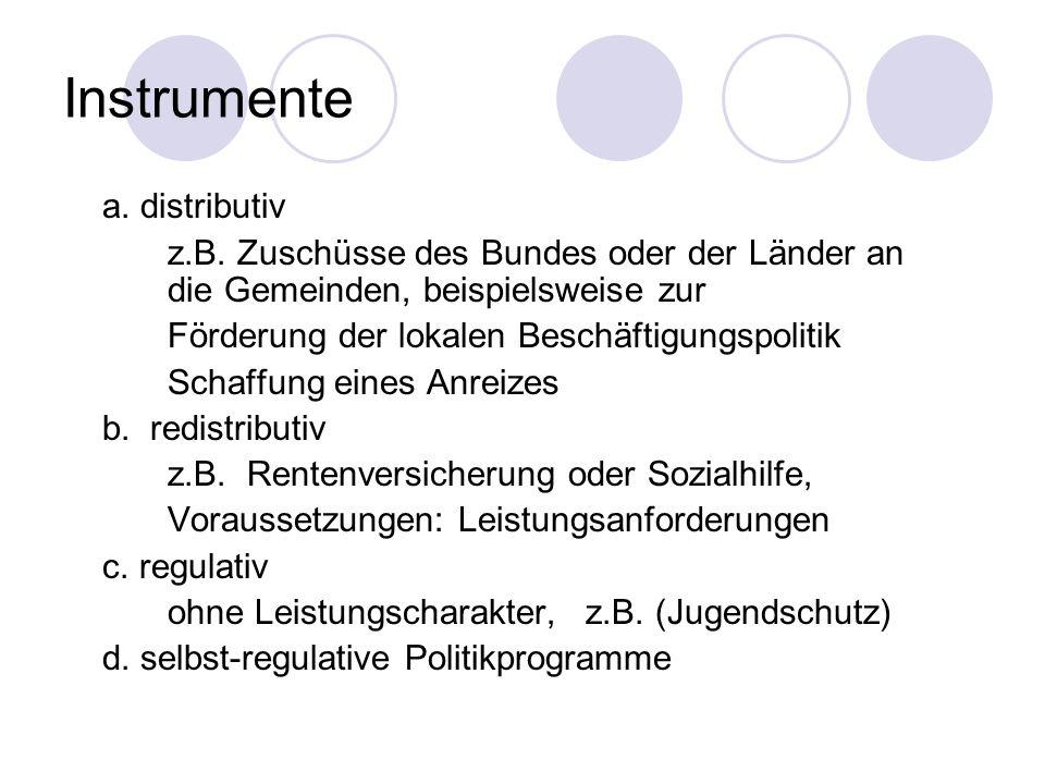 Instrumente a. distributiv z.B. Zuschüsse des Bundes oder der Länder an die Gemeinden, beispielsweise zur Förderung der lokalen Beschäftigungspolitik