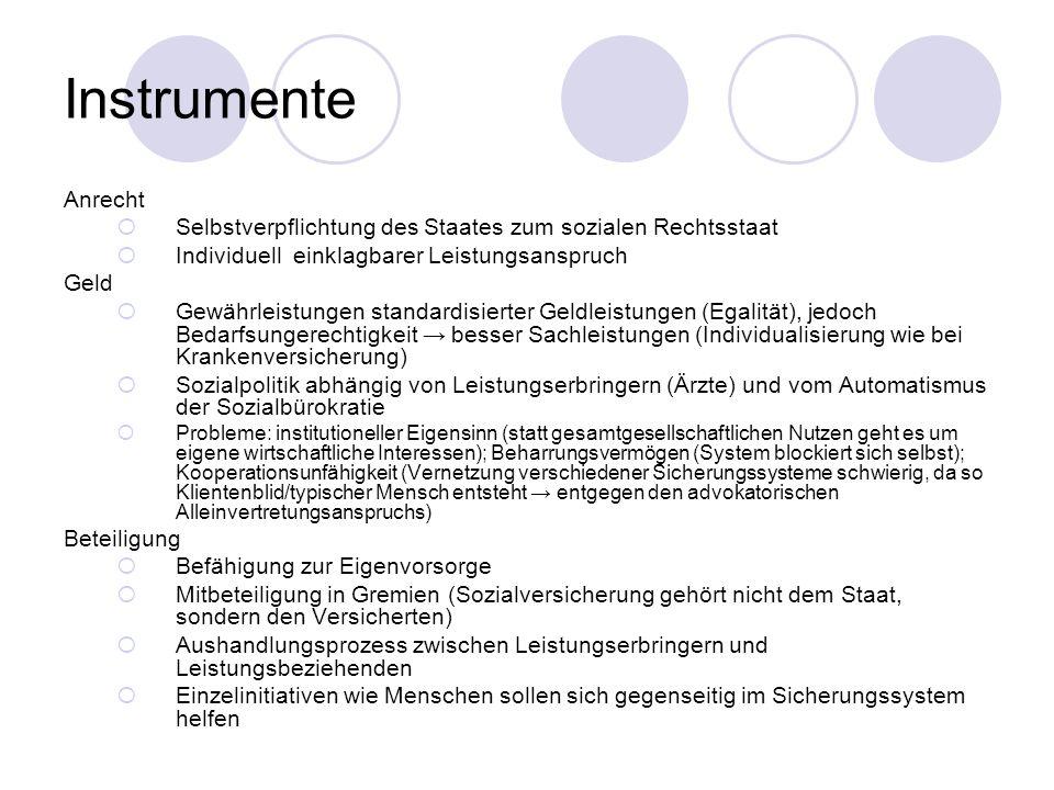 Instrumente Anrecht Selbstverpflichtung des Staates zum sozialen Rechtsstaat Individuell einklagbarer Leistungsanspruch Geld Gewährleistungen standardisierter Geldleistungen (Egalität), jedoch Bedarfsungerechtigkeit besser Sachleistungen (Individualisierung wie bei Krankenversicherung) Sozialpolitik abhängig von Leistungserbringern (Ärzte) und vom Automatismus der Sozialbürokratie Probleme: institutioneller Eigensinn (statt gesamtgesellschaftlichen Nutzen geht es um eigene wirtschaftliche Interessen); Beharrungsvermögen (System blockiert sich selbst); Kooperationsunfähigkeit (Vernetzung verschiedener Sicherungssysteme schwierig, da so Klientenblid/typischer Mensch entsteht entgegen den advokatorischen Alleinvertretungsanspruchs) Beteiligung Befähigung zur Eigenvorsorge Mitbeteiligung in Gremien (Sozialversicherung gehört nicht dem Staat, sondern den Versicherten) Aushandlungsprozess zwischen Leistungserbringern und Leistungsbeziehenden Einzelinitiativen wie Menschen sollen sich gegenseitig im Sicherungssystem helfen