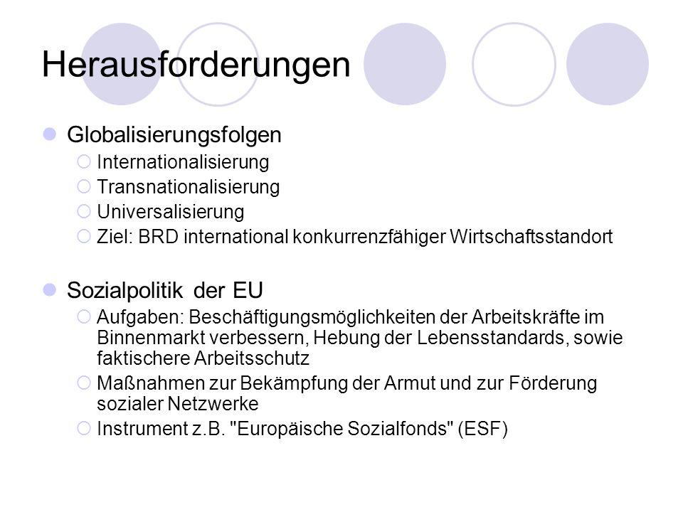 Herausforderungen Globalisierungsfolgen Internationalisierung Transnationalisierung Universalisierung Ziel: BRD international konkurrenzfähiger Wirtsc