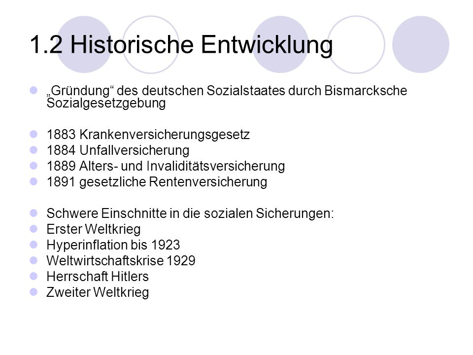 1.2 Historische Entwicklung Gründung des deutschen Sozialstaates durch Bismarcksche Sozialgesetzgebung 1883 Krankenversicherungsgesetz 1884 Unfallvers