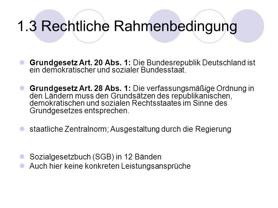 1.3 Rechtliche Rahmenbedingung Grundgesetz Art. 20 Abs. 1: Die Bundesrepublik Deutschland ist ein demokratischer und sozialer Bundesstaat. Grundgesetz