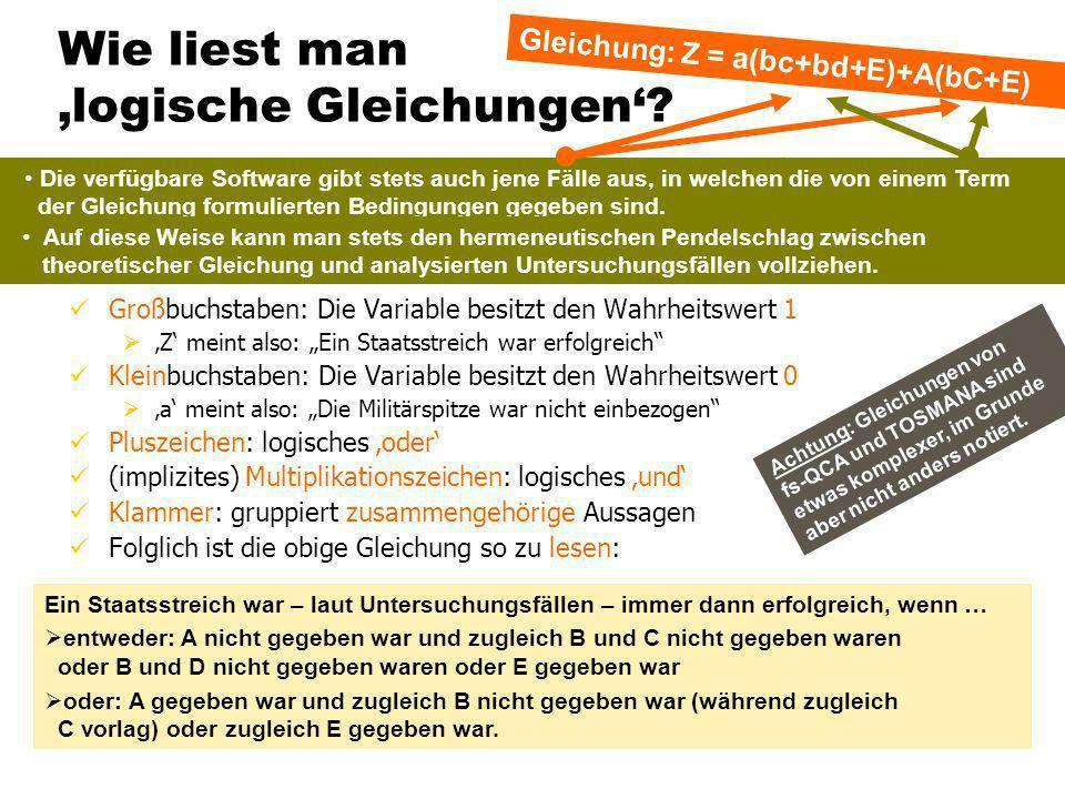 TU Dresden – Institut für Politikwissenschaft – Prof. Dr. Werner J. Patzelt Wie liest man logische Gleichungen? Großbuchstaben: Die Variable besitzt d