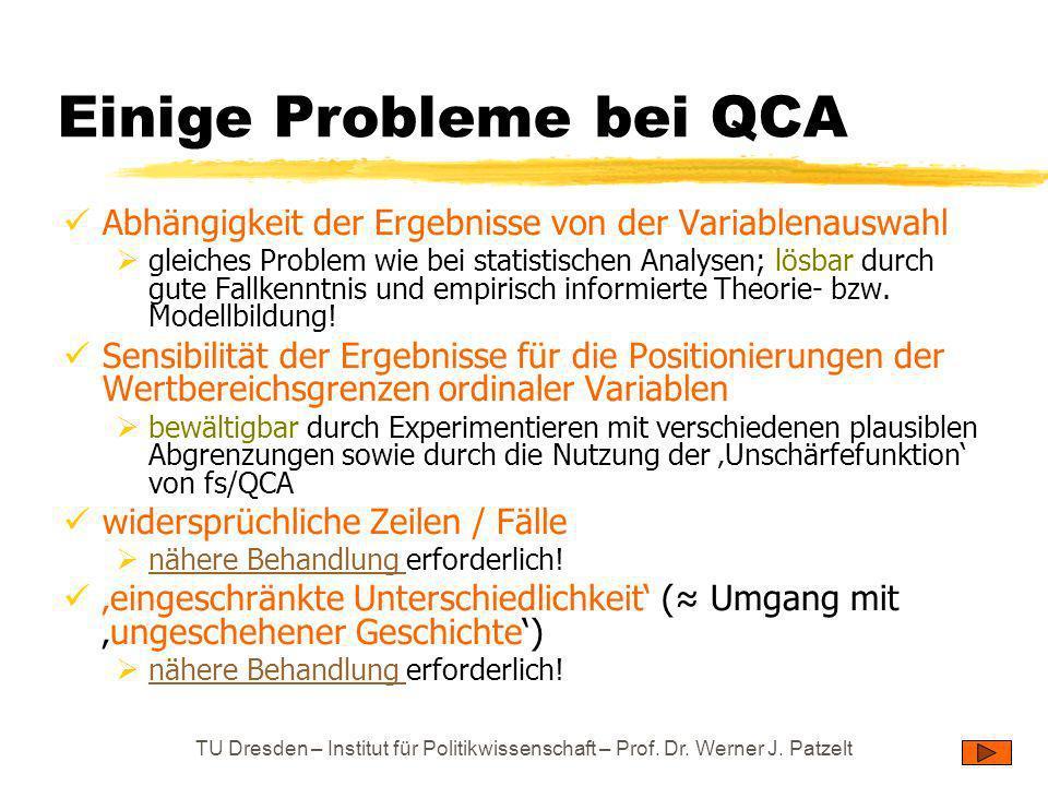 TU Dresden – Institut für Politikwissenschaft – Prof. Dr. Werner J. Patzelt Einige Probleme bei QCA Abhängigkeit der Ergebnisse von der Variablenauswa