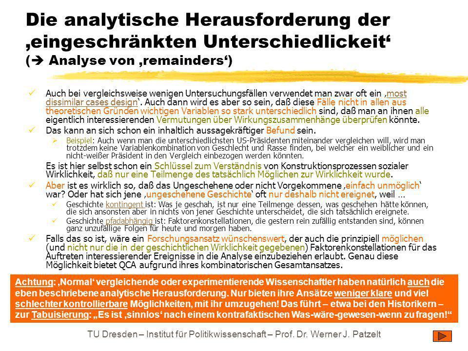 TU Dresden – Institut für Politikwissenschaft – Prof. Dr. Werner J. Patzelt Die analytische Herausforderung der eingeschränkten Unterschiedlickeit ( A