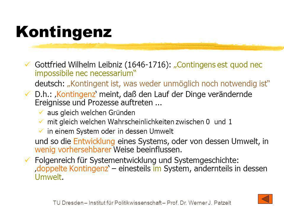 TU Dresden – Institut für Politikwissenschaft – Prof. Dr. Werner J. Patzelt Kontingenz Gottfried Wilhelm Leibniz (1646-1716): Contingens est quod nec