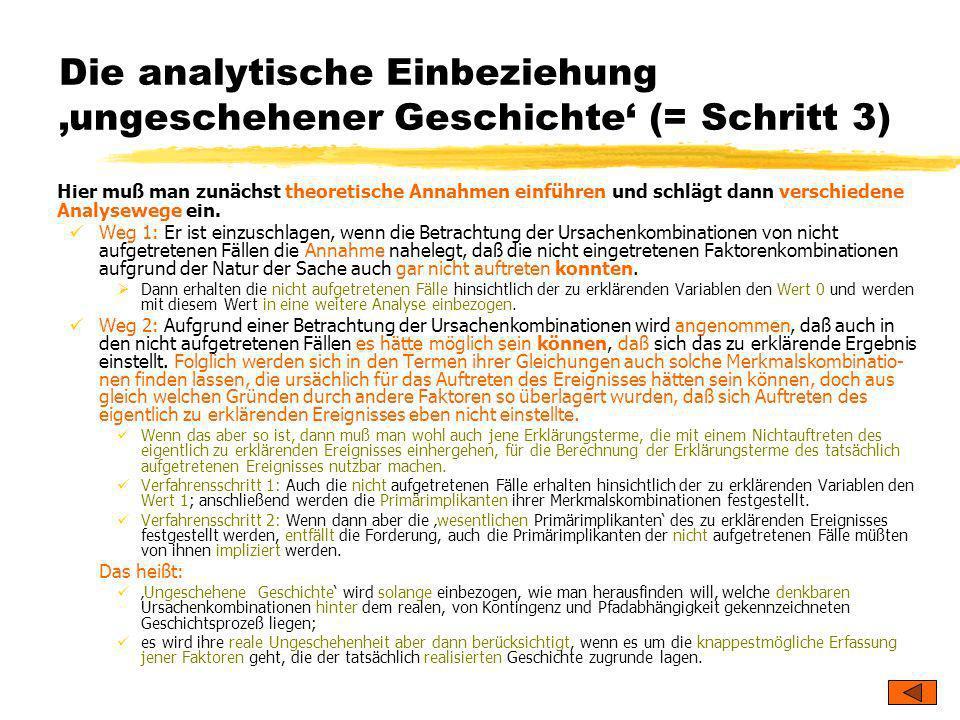 TU Dresden – Institut für Politikwissenschaft – Prof. Dr. Werner J. Patzelt Die analytische Einbeziehung ungeschehener Geschichte (= Schritt 3) Hier m