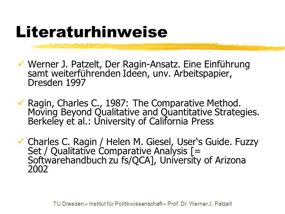 TU Dresden – Institut für Politikwissenschaft – Prof. Dr. Werner J. Patzelt Literaturhinweise Werner J. Patzelt, Der Ragin-Ansatz. Eine Einführung sam