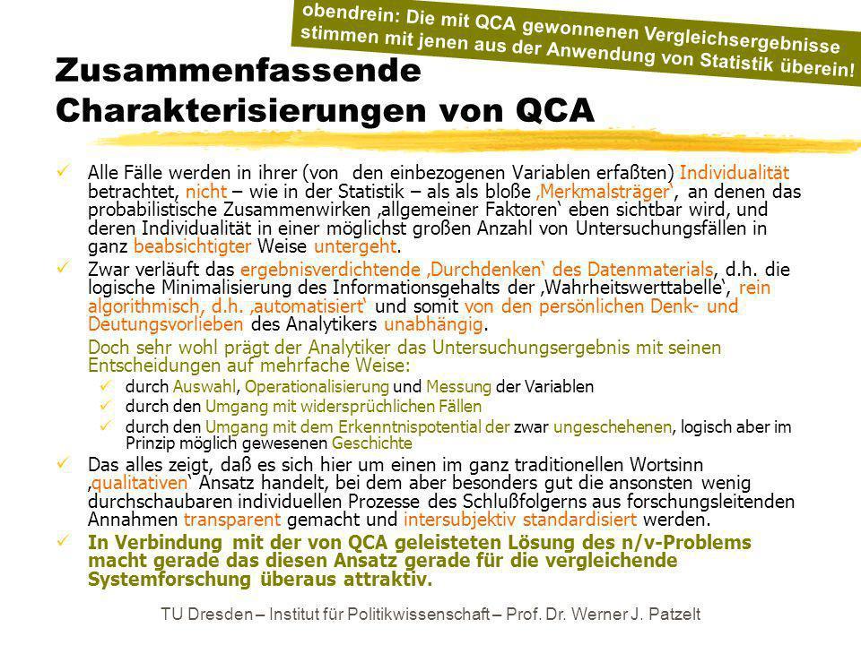 TU Dresden – Institut für Politikwissenschaft – Prof. Dr. Werner J. Patzelt Zusammenfassende Charakterisierungen von QCA Alle Fälle werden in ihrer (v