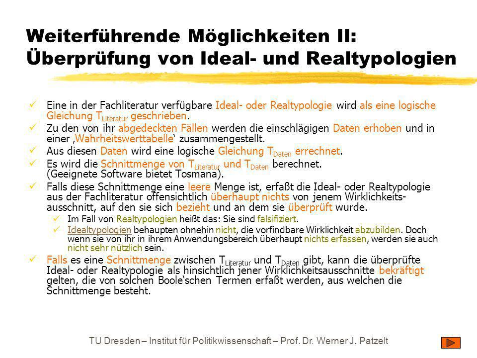 TU Dresden – Institut für Politikwissenschaft – Prof. Dr. Werner J. Patzelt Weiterführende Möglichkeiten II: Überprüfung von Ideal- und Realtypologien