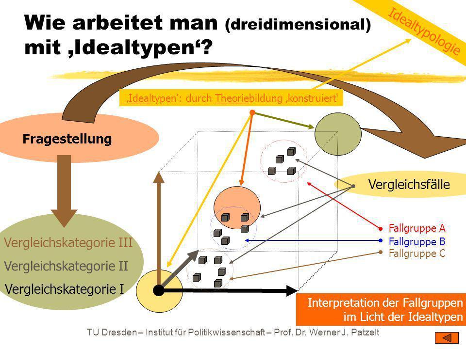 TU Dresden – Institut für Politikwissenschaft – Prof. Dr. Werner J. Patzelt Wie arbeitet man (dreidimensional) mit Idealtypen? Vergleichskategorie I V
