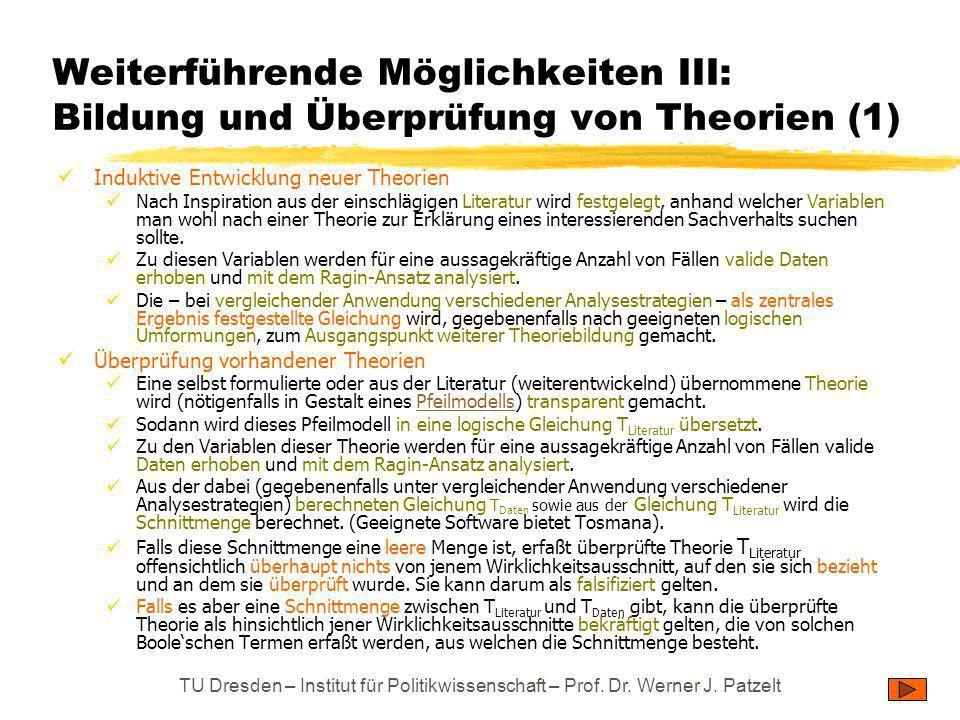 TU Dresden – Institut für Politikwissenschaft – Prof. Dr. Werner J. Patzelt Weiterführende Möglichkeiten III: Bildung und Überprüfung von Theorien (1)