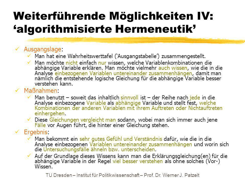 TU Dresden – Institut für Politikwissenschaft – Prof. Dr. Werner J. Patzelt Weiterführende Möglichkeiten IV: algorithmisierte Hermeneutik Ausgangslage