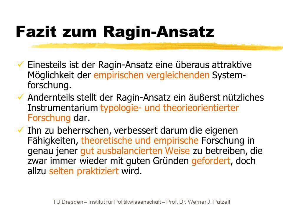 TU Dresden – Institut für Politikwissenschaft – Prof. Dr. Werner J. Patzelt Fazit zum Ragin-Ansatz Einesteils ist der Ragin-Ansatz eine überaus attrak