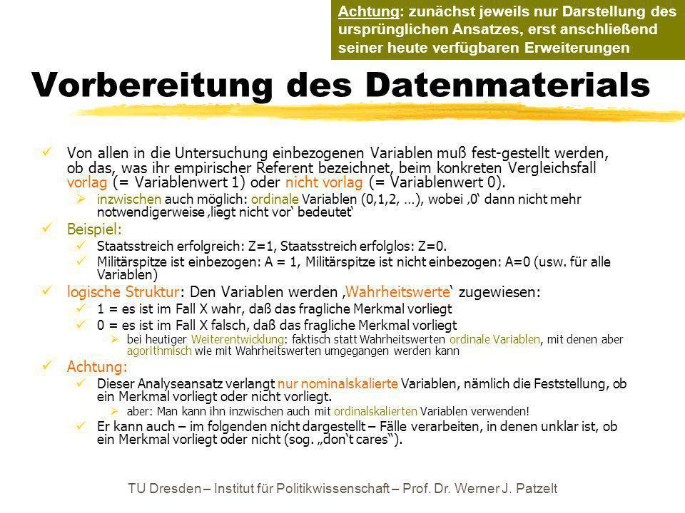 TU Dresden – Institut für Politikwissenschaft – Prof. Dr. Werner J. Patzelt Vorbereitung des Datenmaterials Von allen in die Untersuchung einbezogenen