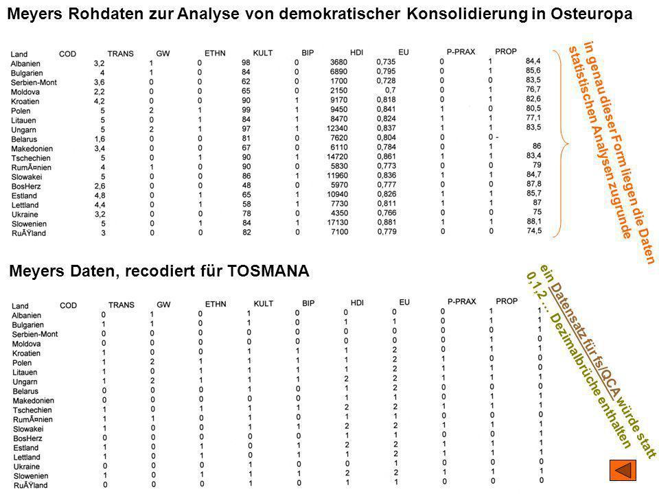 TU Dresden – Institut für Politikwissenschaft – Prof. Dr. Werner J. Patzelt Meyers Rohdaten zur Analyse von demokratischer Konsolidierung in Osteuropa