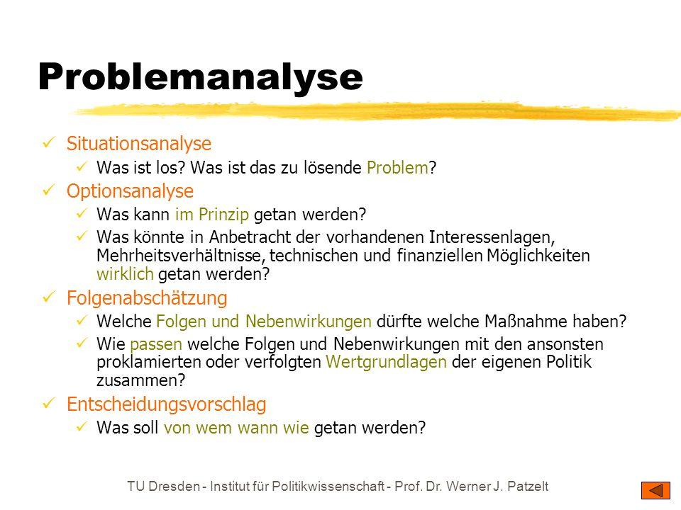 TU Dresden - Institut für Politikwissenschaft - Prof. Dr. Werner J. Patzelt Problemanalyse Situationsanalyse Was ist los? Was ist das zu lösende Probl