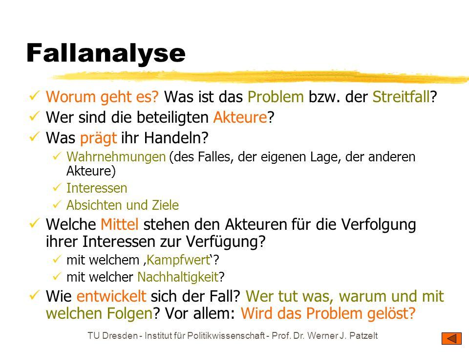 TU Dresden - Institut für Politikwissenschaft - Prof. Dr. Werner J. Patzelt Fallanalyse Worum geht es? Was ist das Problem bzw. der Streitfall? Wer si
