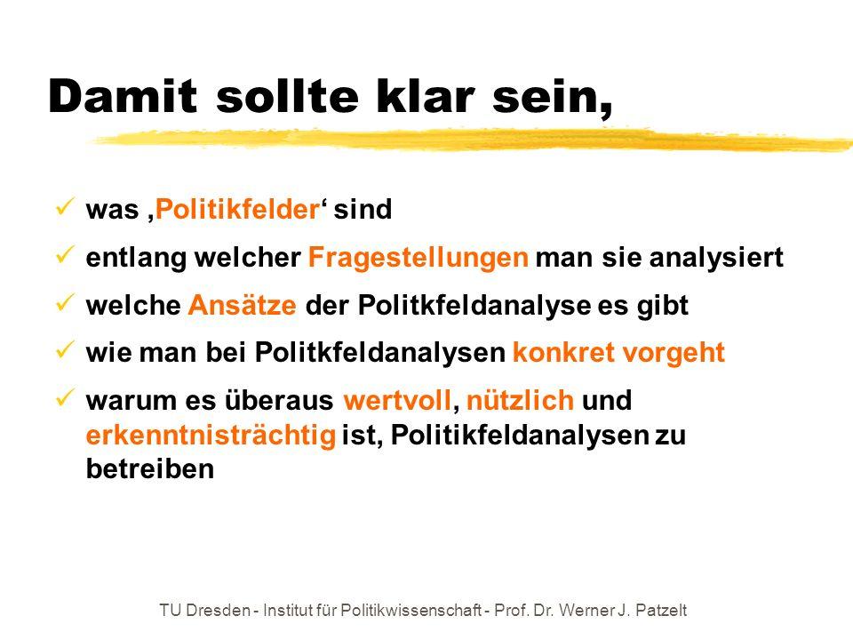 TU Dresden - Institut für Politikwissenschaft - Prof. Dr. Werner J. Patzelt Damit sollte klar sein, was Politikfelder sind entlang welcher Fragestellu