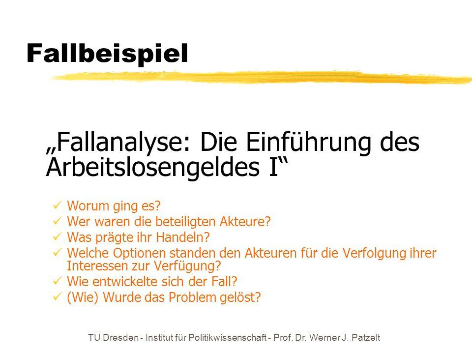 TU Dresden - Institut für Politikwissenschaft - Prof. Dr. Werner J. Patzelt Fallbeispiel Fallanalyse: Die Einführung des Arbeitslosengeldes I Worum gi