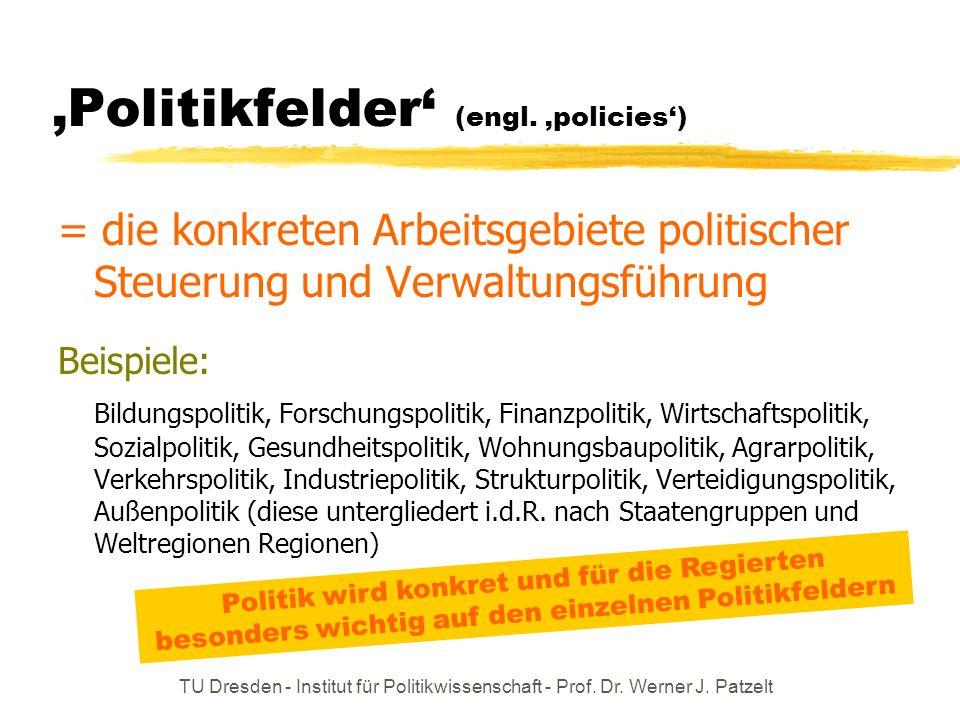 TU Dresden - Institut für Politikwissenschaft - Prof. Dr. Werner J. Patzelt Politikfelder (engl. policies) = die konkreten Arbeitsgebiete politischer