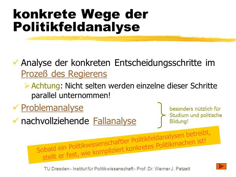 TU Dresden - Institut für Politikwissenschaft - Prof. Dr. Werner J. Patzelt konkrete Wege der Politikfeldanalyse Analyse der konkreten Entscheidungssc